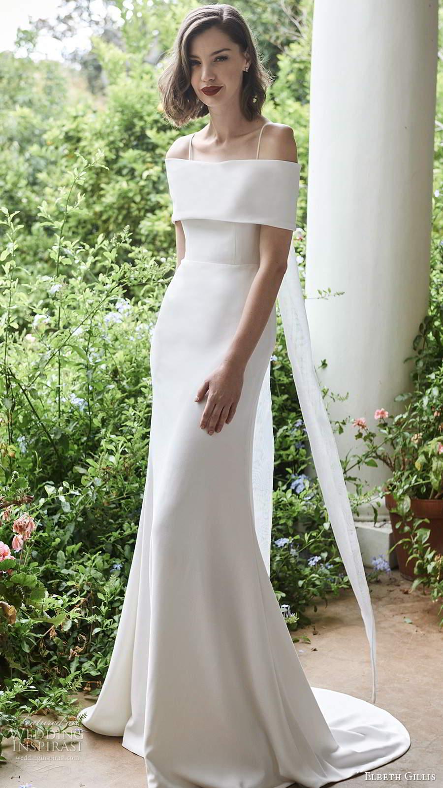 elbeth gillis 2021 bridal sleeveless straps off shoulder collar clean minimalist sheath wedding dress chapel train (15) mv