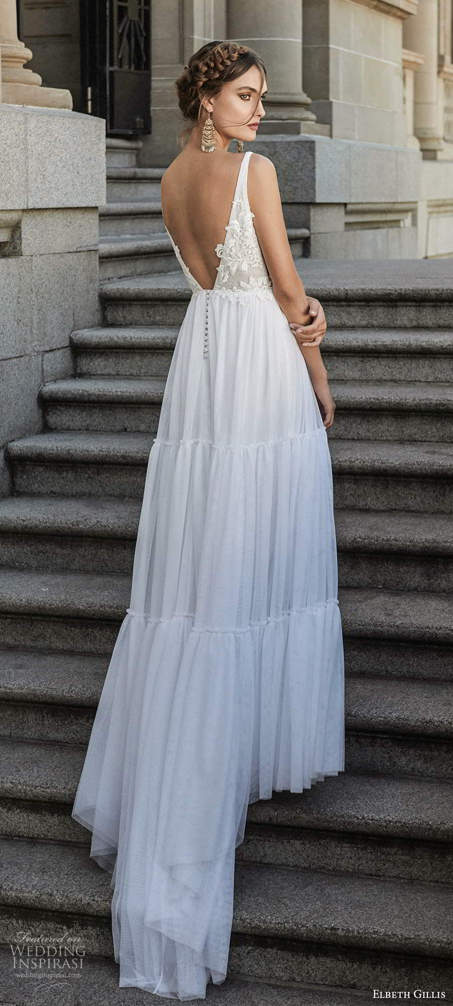 elbeth gillis 2021 bridal sleeveless straps plunging v neckline embellished bodice a line ball gown wedding dress chapel train (9) bv