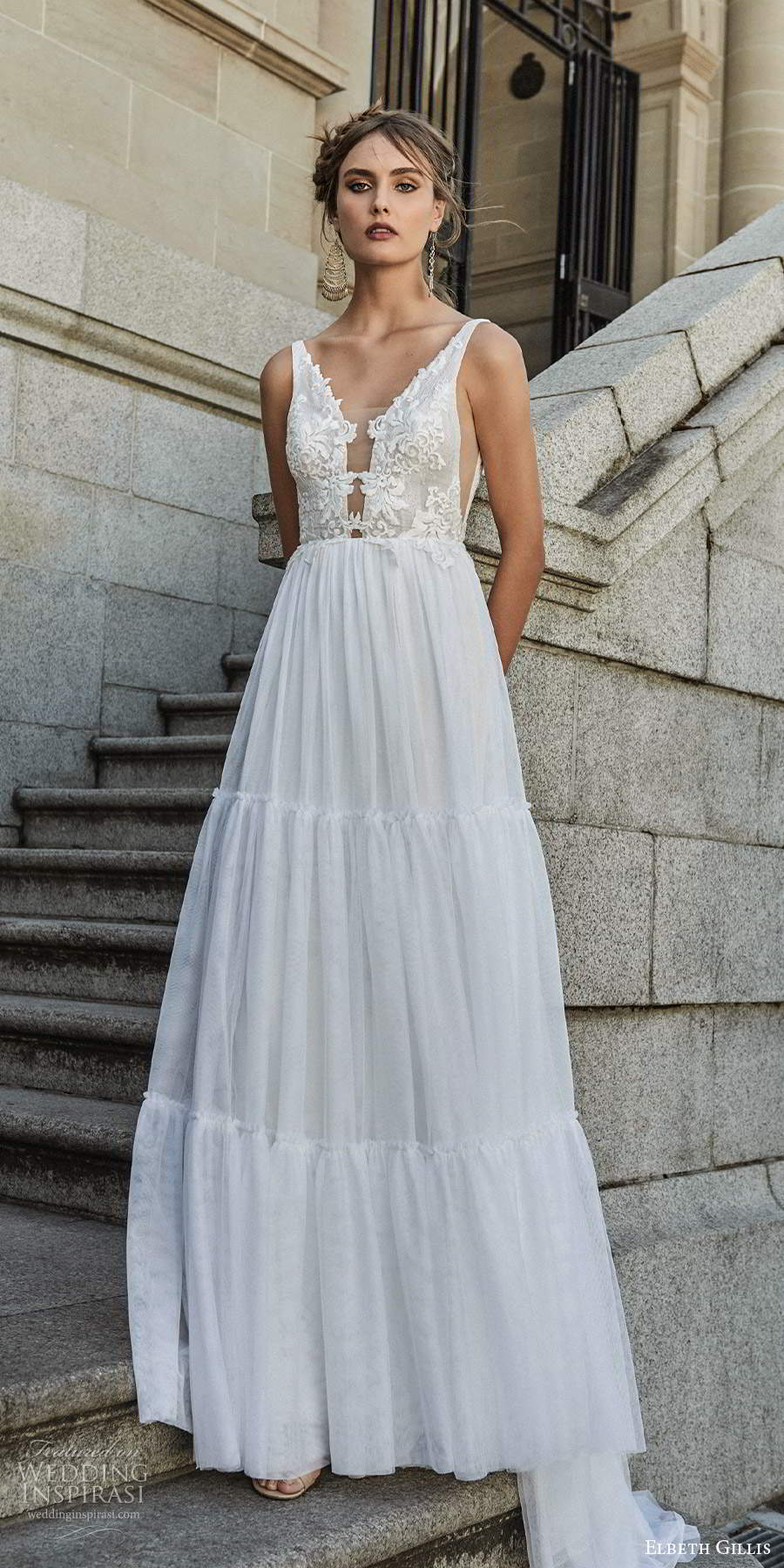 elbeth gillis 2021 bridal sleeveless straps plunging v neckline embellished bodice a line ball gown wedding dress chapel train (9) mv