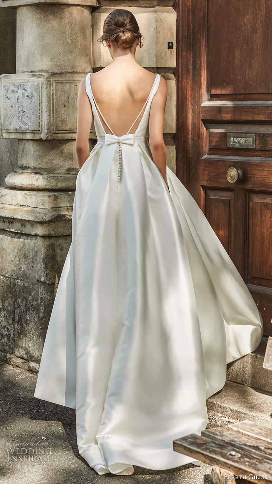 elbeth gillis 2021 bridal sleeveless straps plunging v neckline embellished bodice a line ball gown wedding dress open back slit skirt sweep train (3) bv
