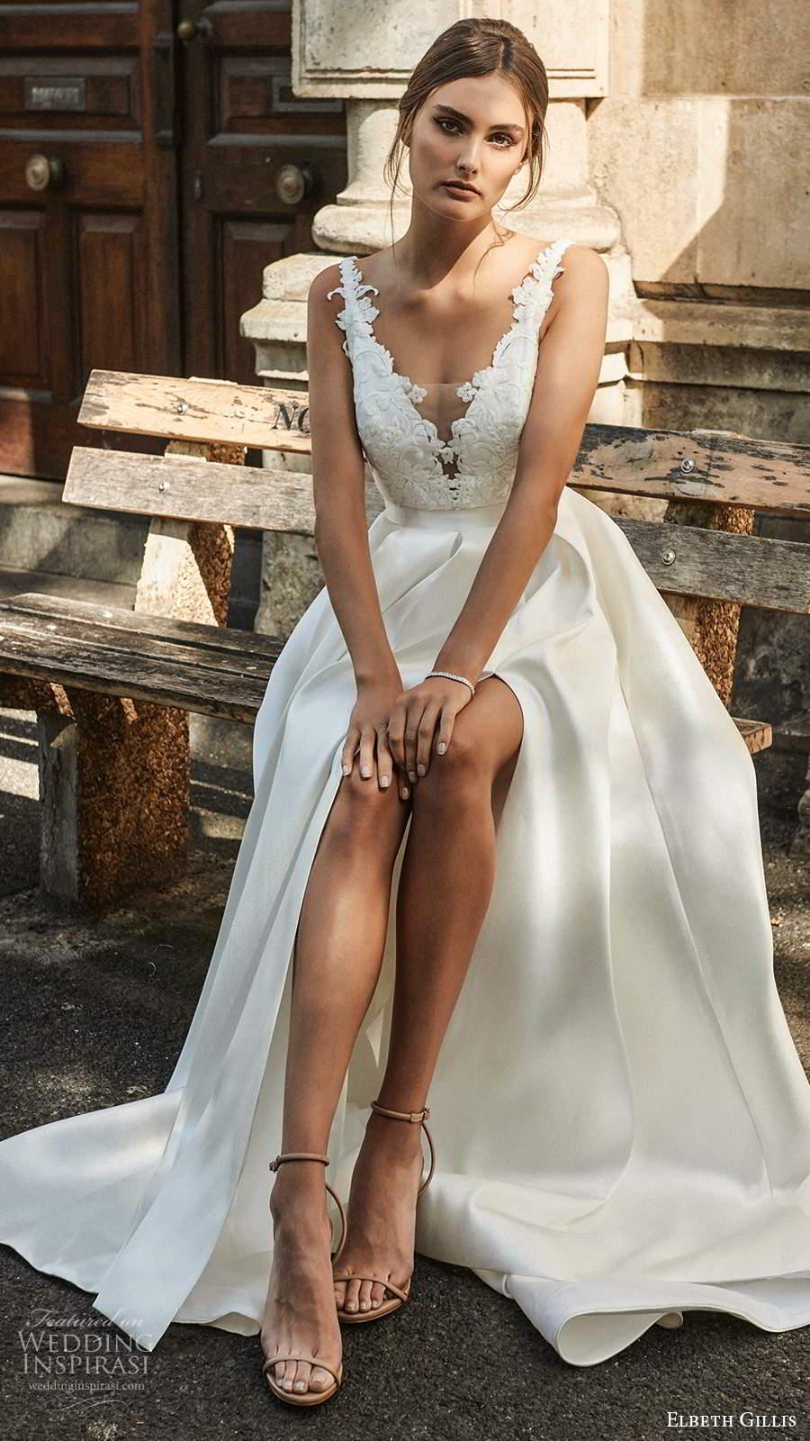elbeth gillis 2021 bridal sleeveless straps plunging v neckline embellished bodice a line ball gown wedding dress slit skirt (3) mv