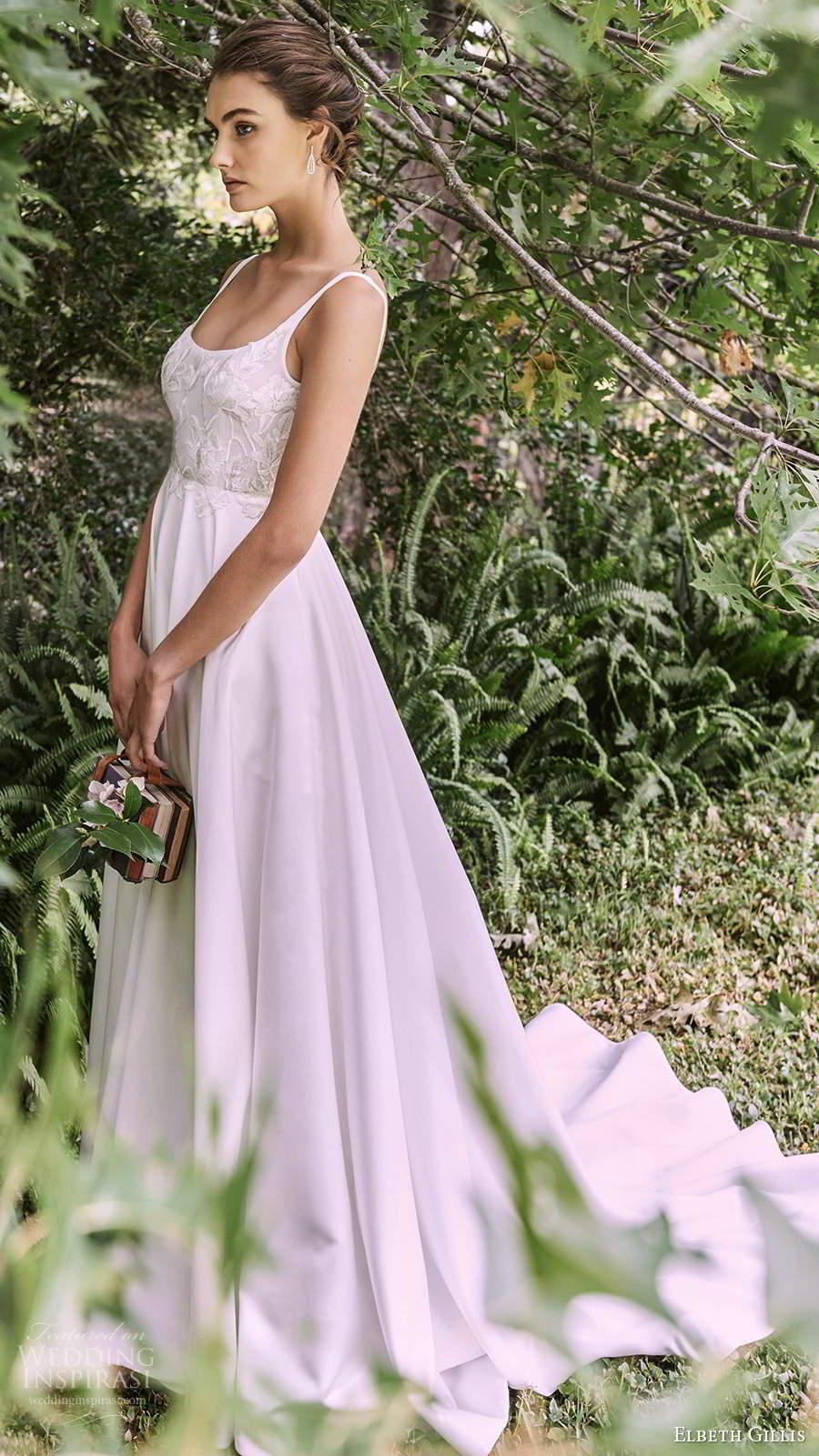 elbeth gillis 2021 bridal sleeveless straps scoop neckline embellished bodice a ilne ball gown wedding dress chapel train (11) mv