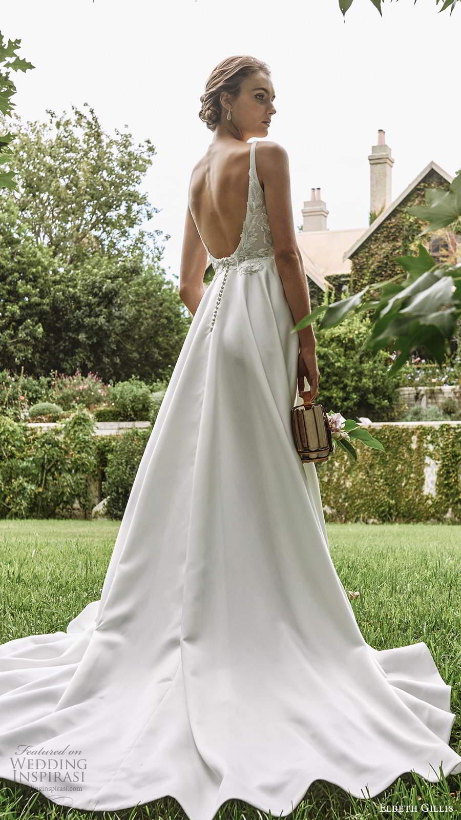 elbeth gillis 2021 bridal sleeveless straps scoop neckline embellished bodice a ilne ball gown wedding dress scoop back chapel train (11) bv