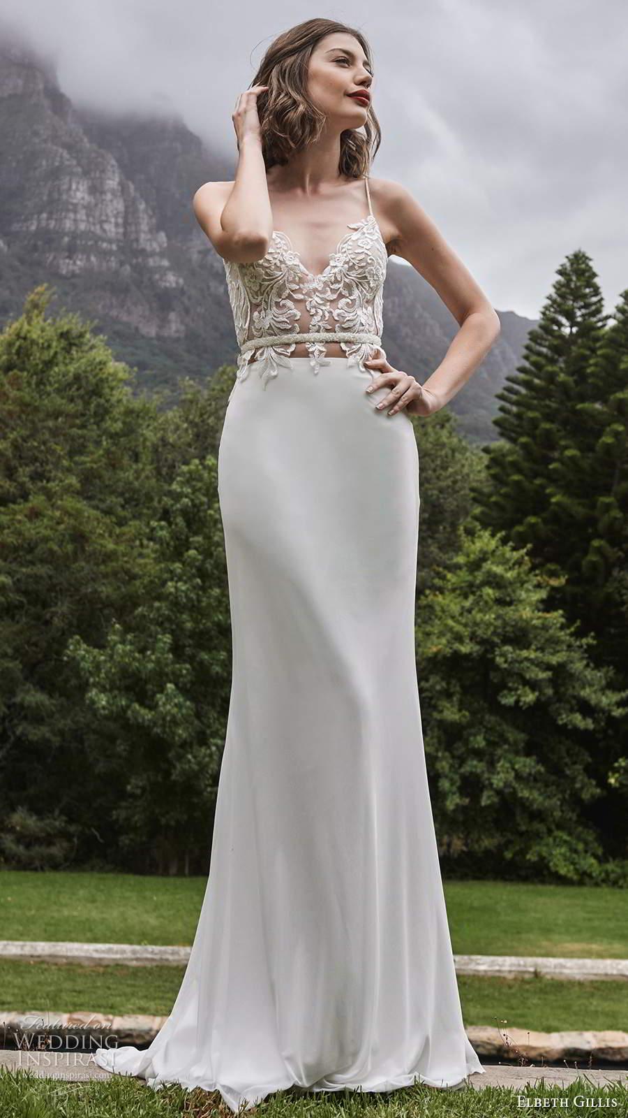 elbeth gillis 2021 bridal sleeveless straps sweetheart neckline embellished bodice clean skirt sheath wedding dress chapel train (17) mv