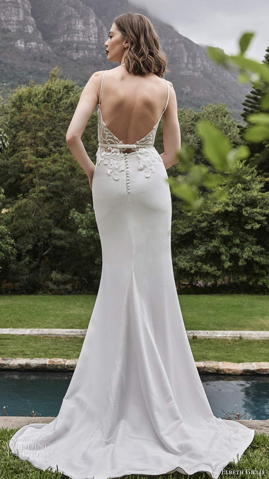 elbeth gillis 2021 bridal sleeveless straps sweetheart neckline embellished bodice clean skirt sheath wedding dress v back chapel train (17) bv