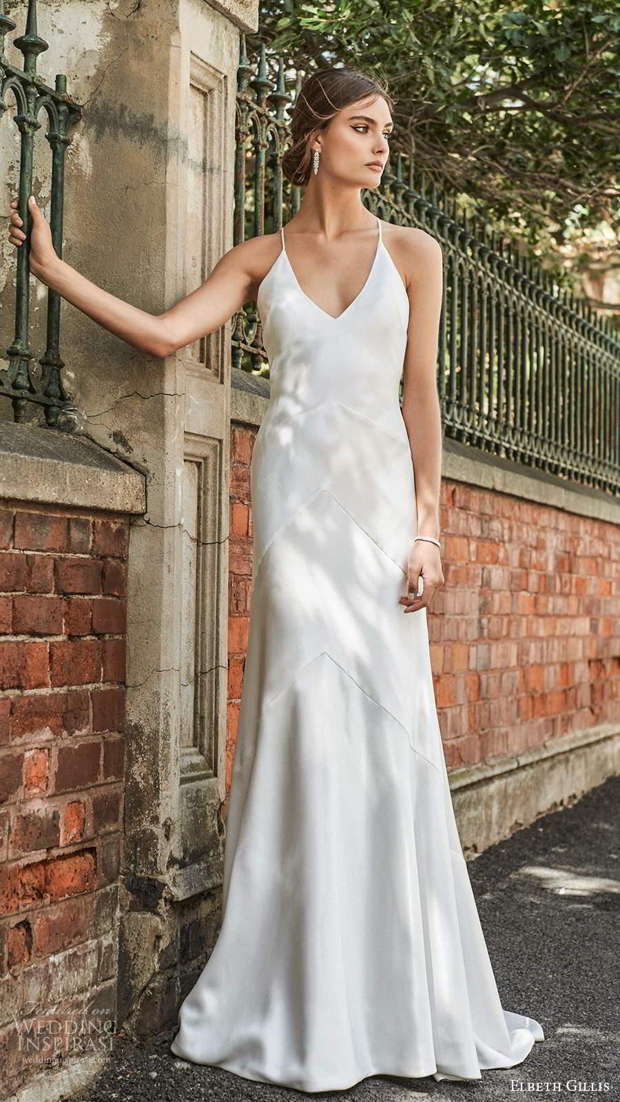 elbeth gillis 2021 bridal sleeveless straps v neckline clean minimalist a line trumpet wedding dress sweep train (2) mv
