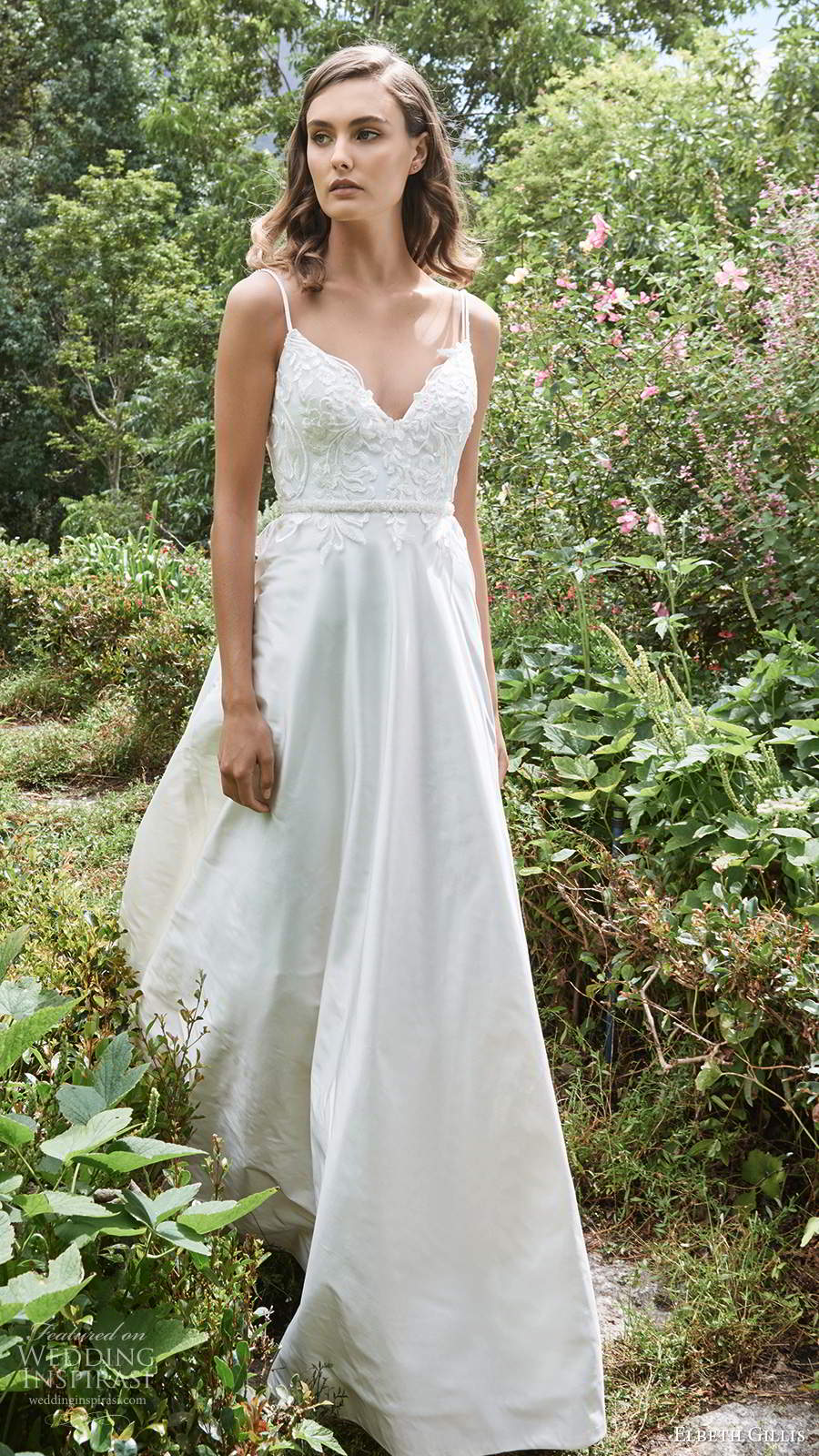 elbeth gillis 2021 bridal sleeveless straps v neckline embellished bodice a line ball gown wedding dress chapel train (12) mv