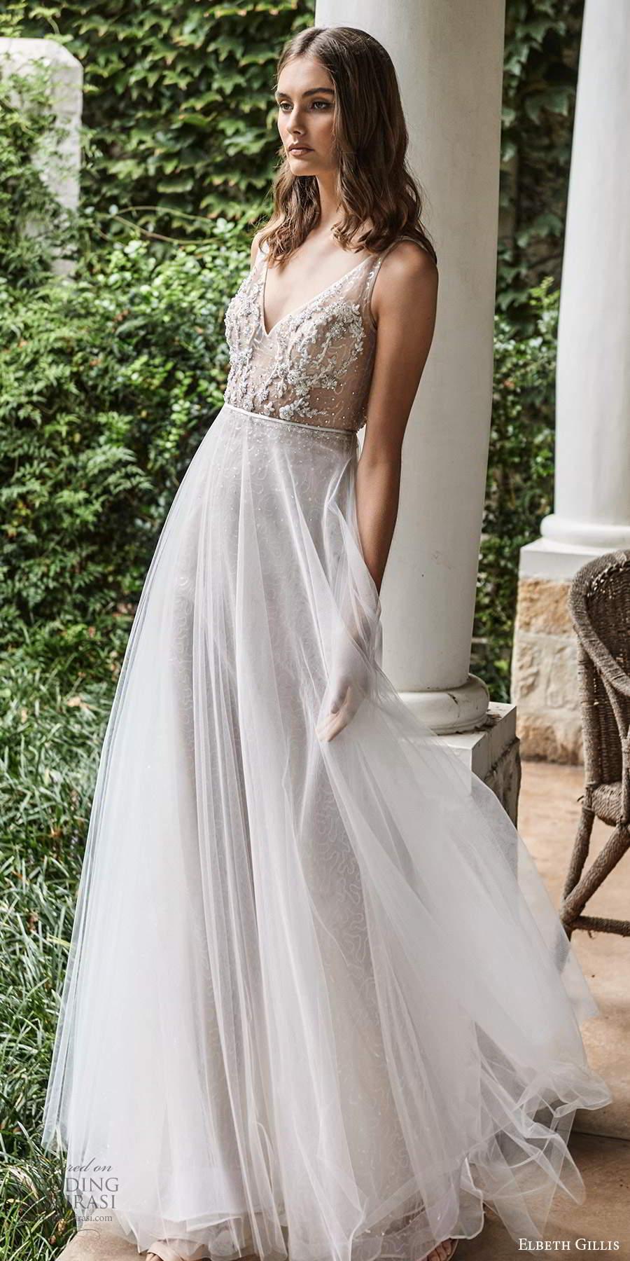 elbeth gillis 2021 bridal sleeveless straps v neckline embellished bodice a line wedding dress ball gown overskirt (6) mv