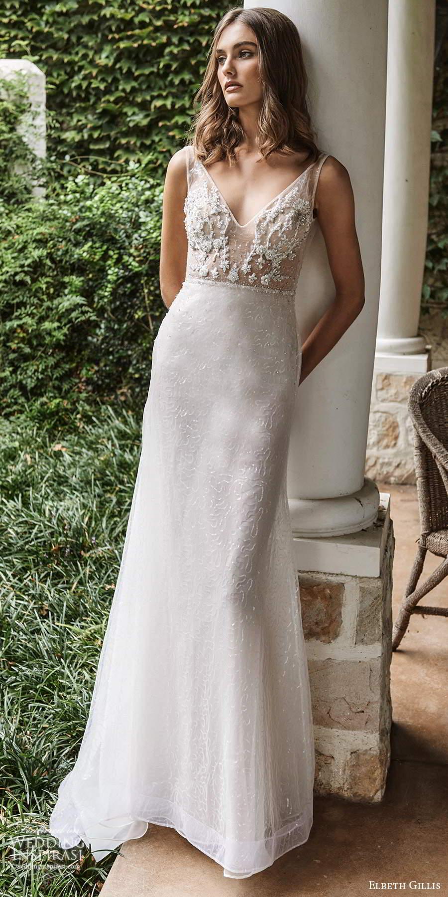 elbeth gillis 2021 bridal sleeveless straps v neckline embellished bodice a line wedding dress chapel train (6) mv