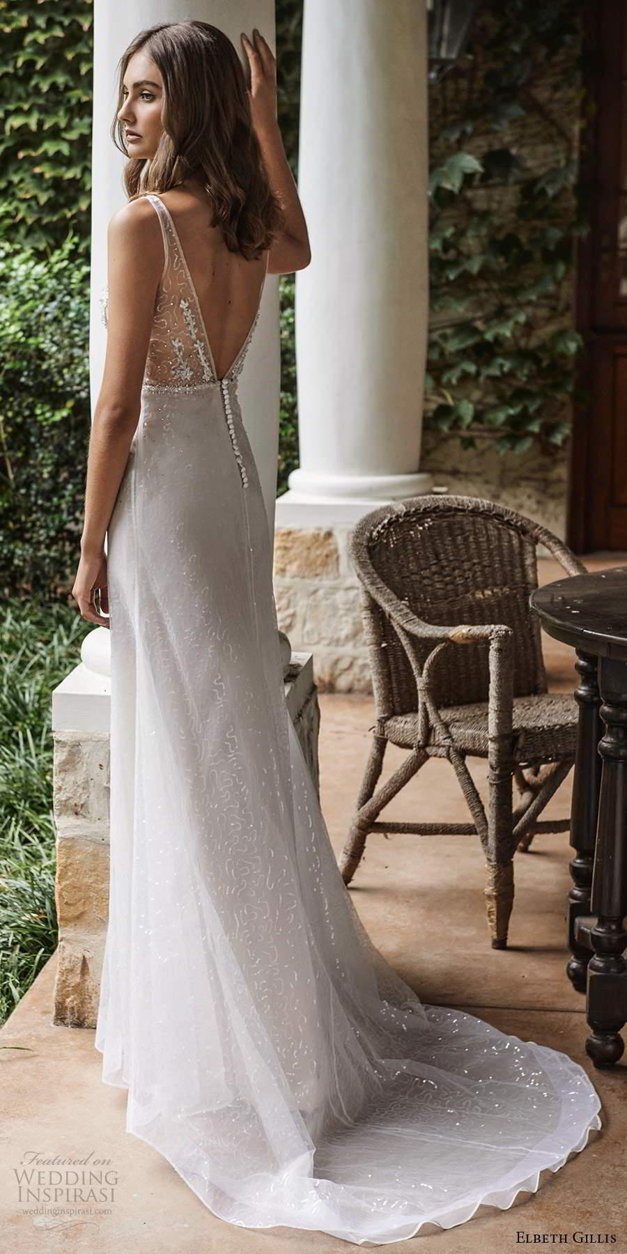 elbeth gillis 2021 bridal sleeveless straps v neckline embellished bodice a line wedding dress v back chapel train (6) bv