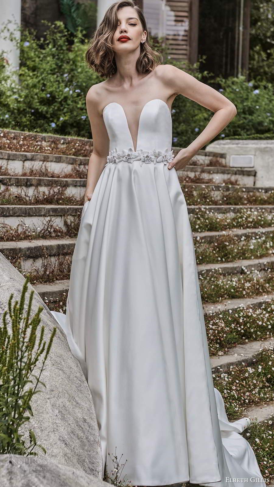 elbeth gillis 2021 bridal strapless plunging sweetheart neckline clean minimalist a line ball gown wedding dress chapel train (7) mv