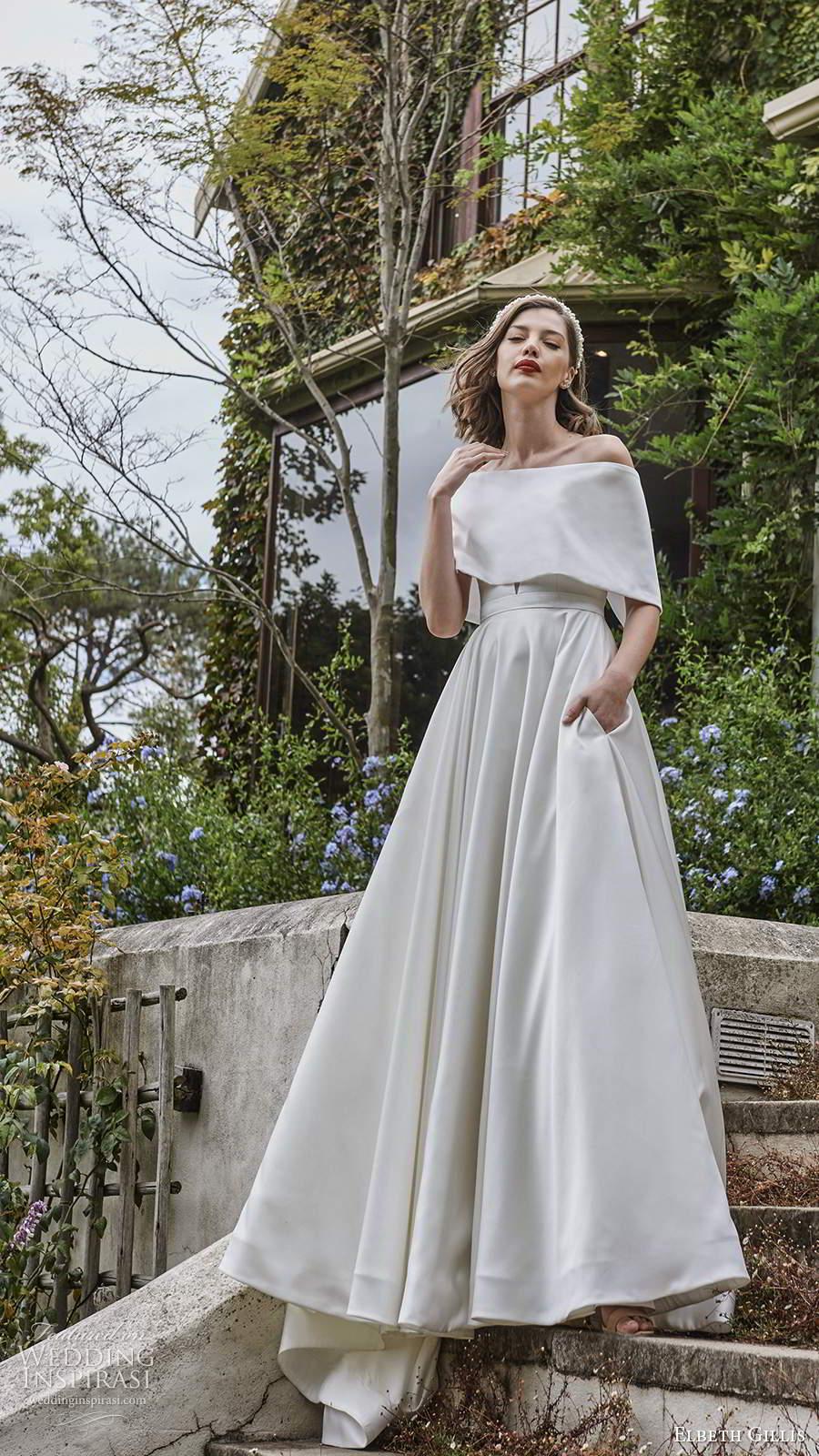 elbeth gillis 2021 bridal strapless plunging sweetheart neckline clean minimalist a line ball gown wedding dress chapel train capelet (7) mv