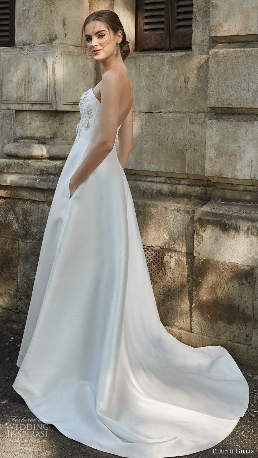 elbeth gillis 2021 bridal strapless plunging sweetheart neckline embellished bodice a line ball gown wedding dress chapel train (13) bv