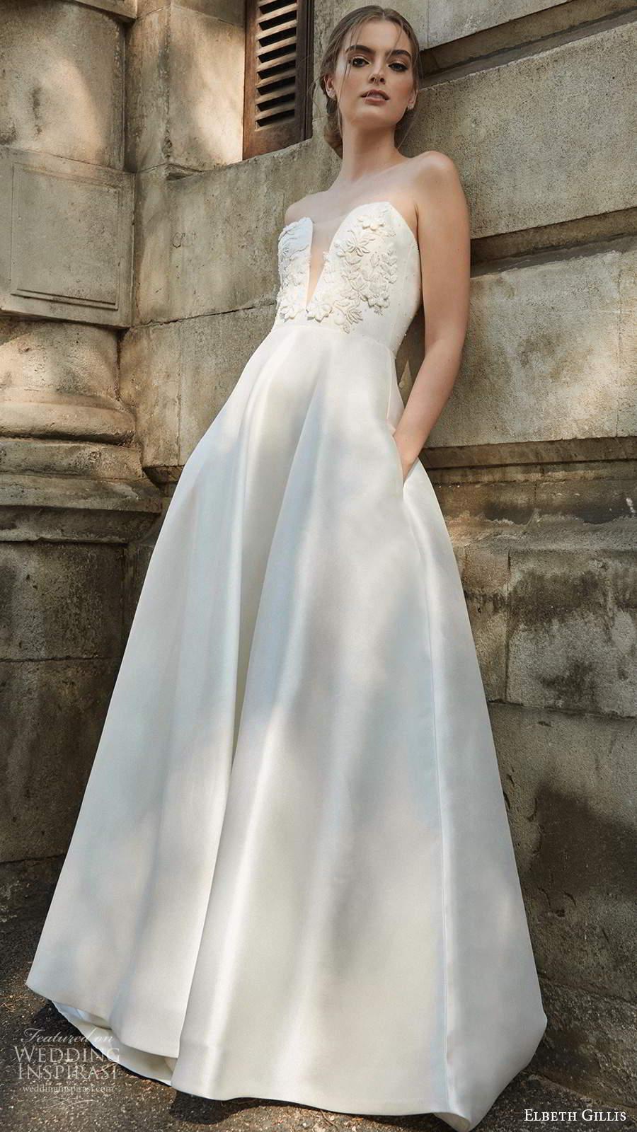 elbeth gillis 2021 bridal strapless plunging sweetheart neckline embellished bodice a line ball gown wedding dress chapel train (13) mv
