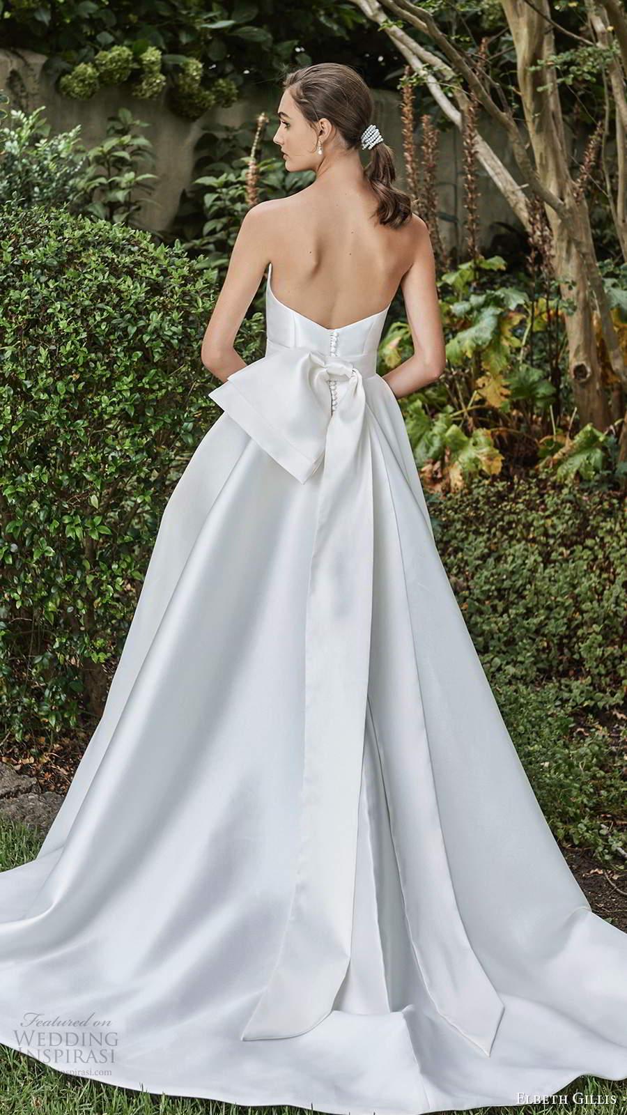 elbeth gillis 2021 bridal strapless straight across clean minimalist a line ball gown wedding dress slit skirt chapel train (10) bv