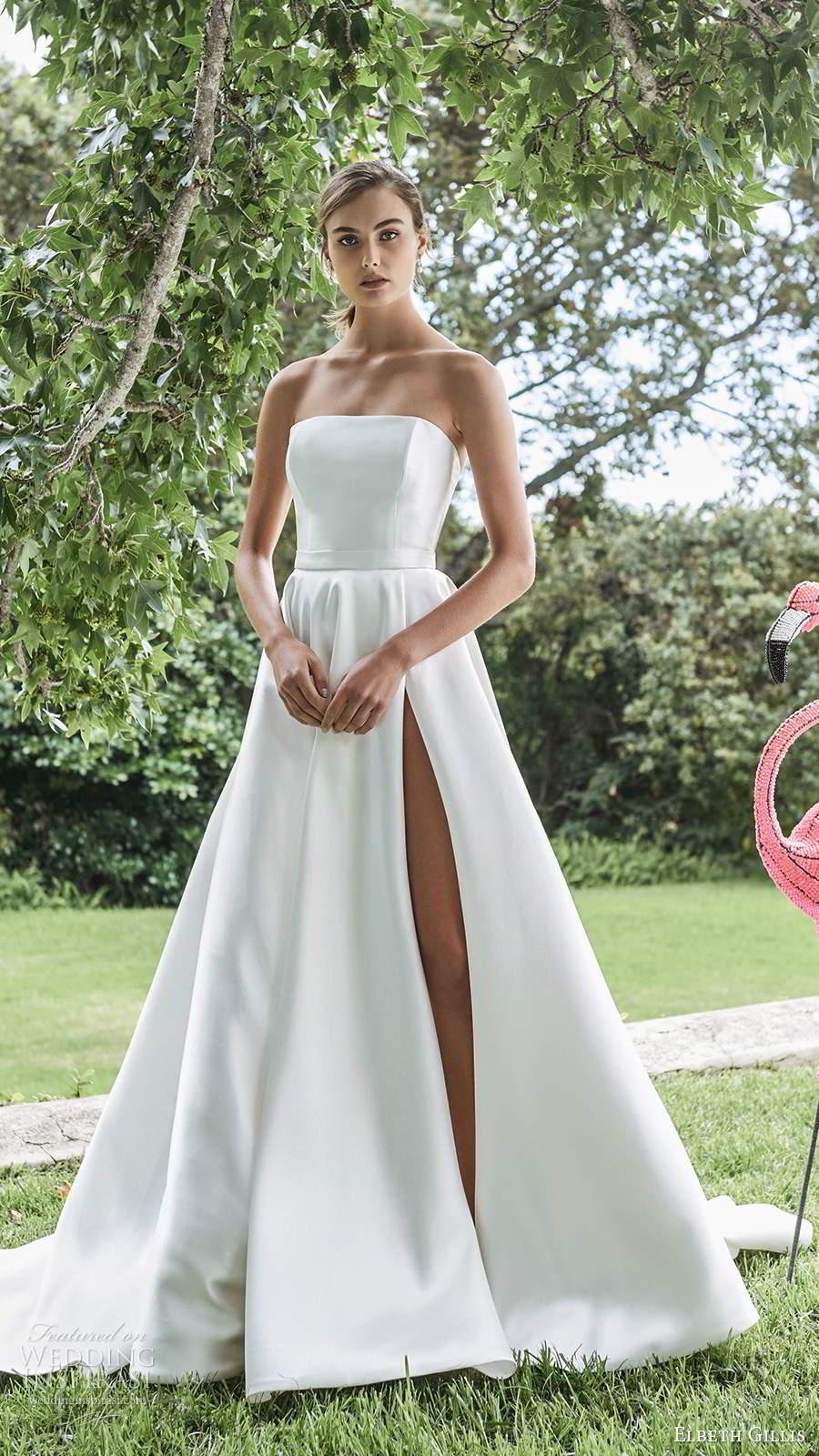 elbeth gillis 2021 bridal strapless straight across clean minimalist a line ball gown wedding dress slit skirt chapel train (10) mv