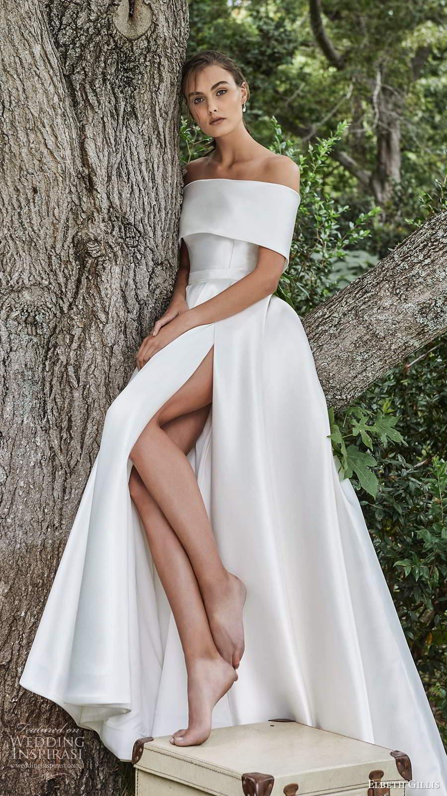 elbeth gillis 2021 bridal strapless straight across clean minimalist a line ball gown wedding dress slit skirt chapel train capelet (10) mv