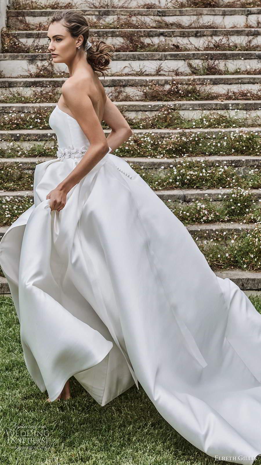 elbeth gillis 2021 bridal strapless straight across clean minimalist a line ball gown wedding dress slit skirt chapel train capelet (10) sv