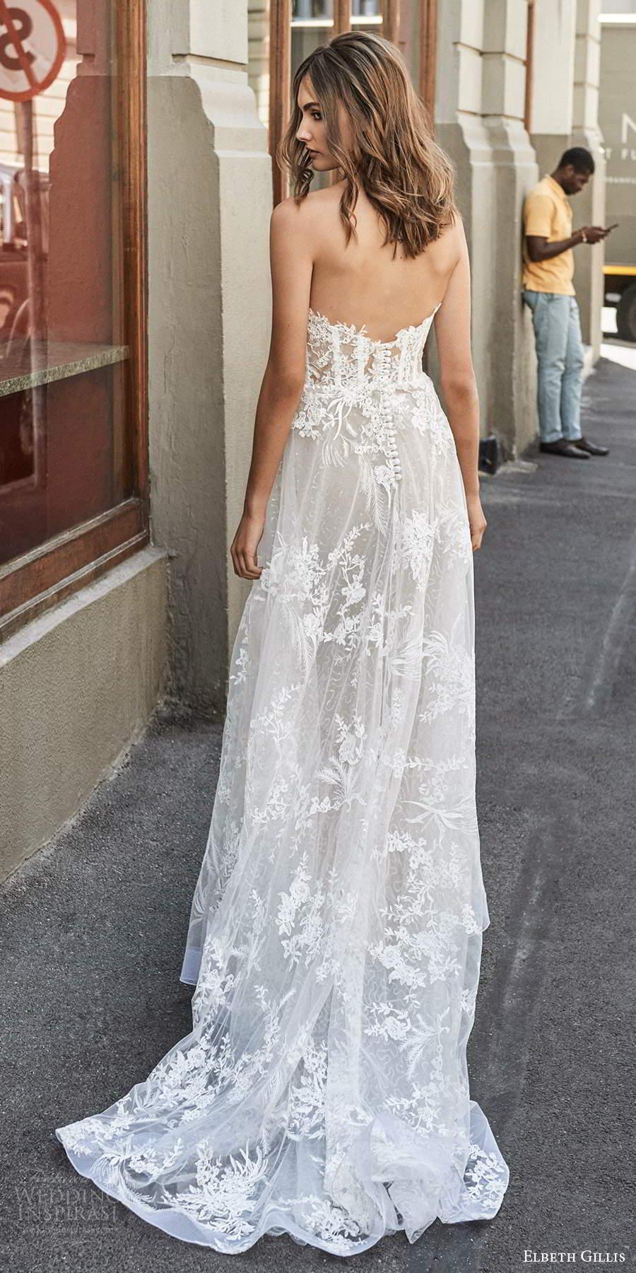 elbeth gillis 2021 bridal strapless sweetheart neckline embellished lace a line ball gown wedding dress chapel train (4) bv