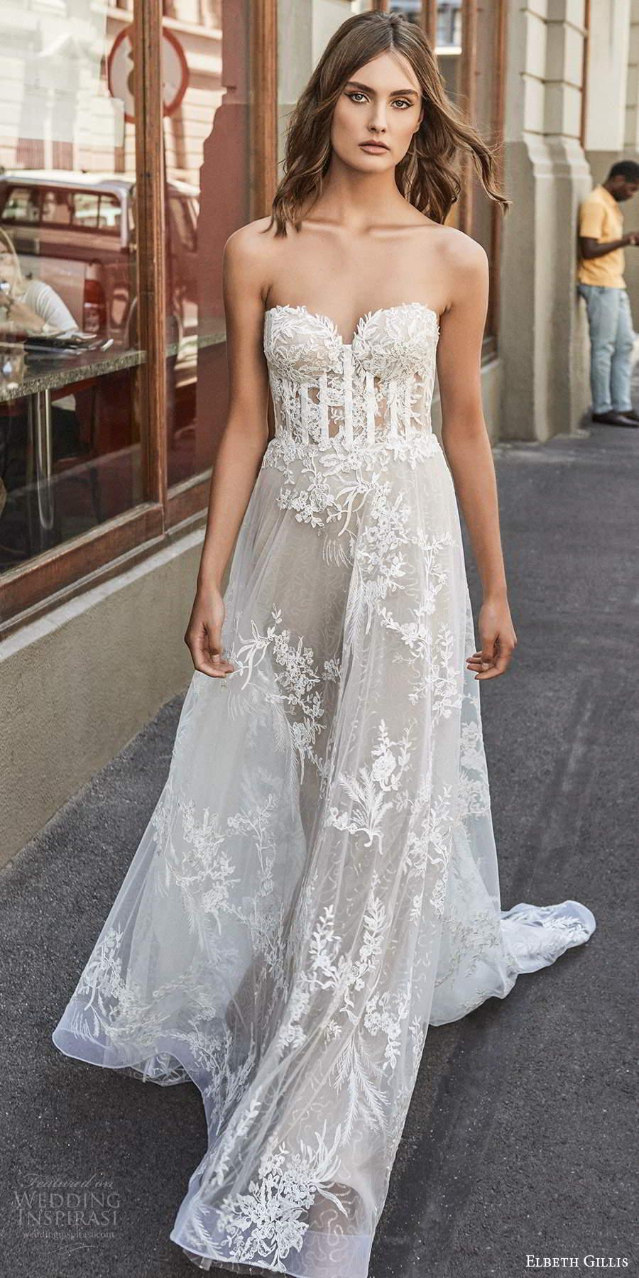 elbeth gillis 2021 bridal strapless sweetheart neckline embellished lace a line ball gown wedding dress chapel train (4) mv