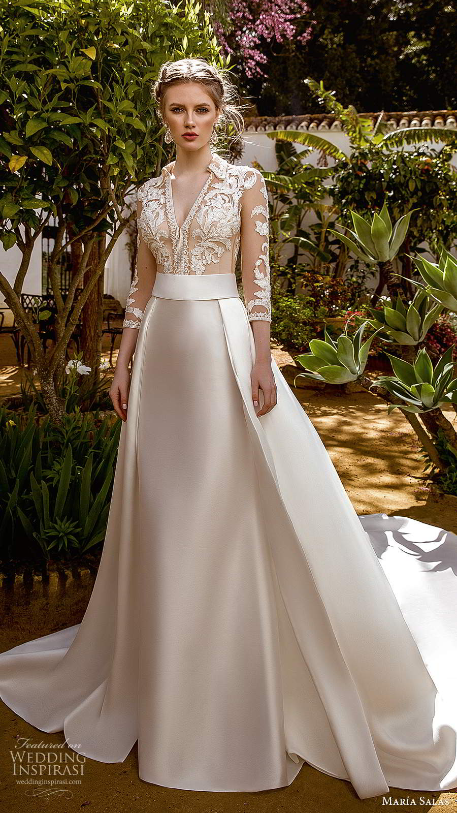 maria salas 2019 bridal illusion 3 quarter sleeves collar v neckline sheer embellished bodice a line ball gown wedding dress clean skirt chapel train (2) mv