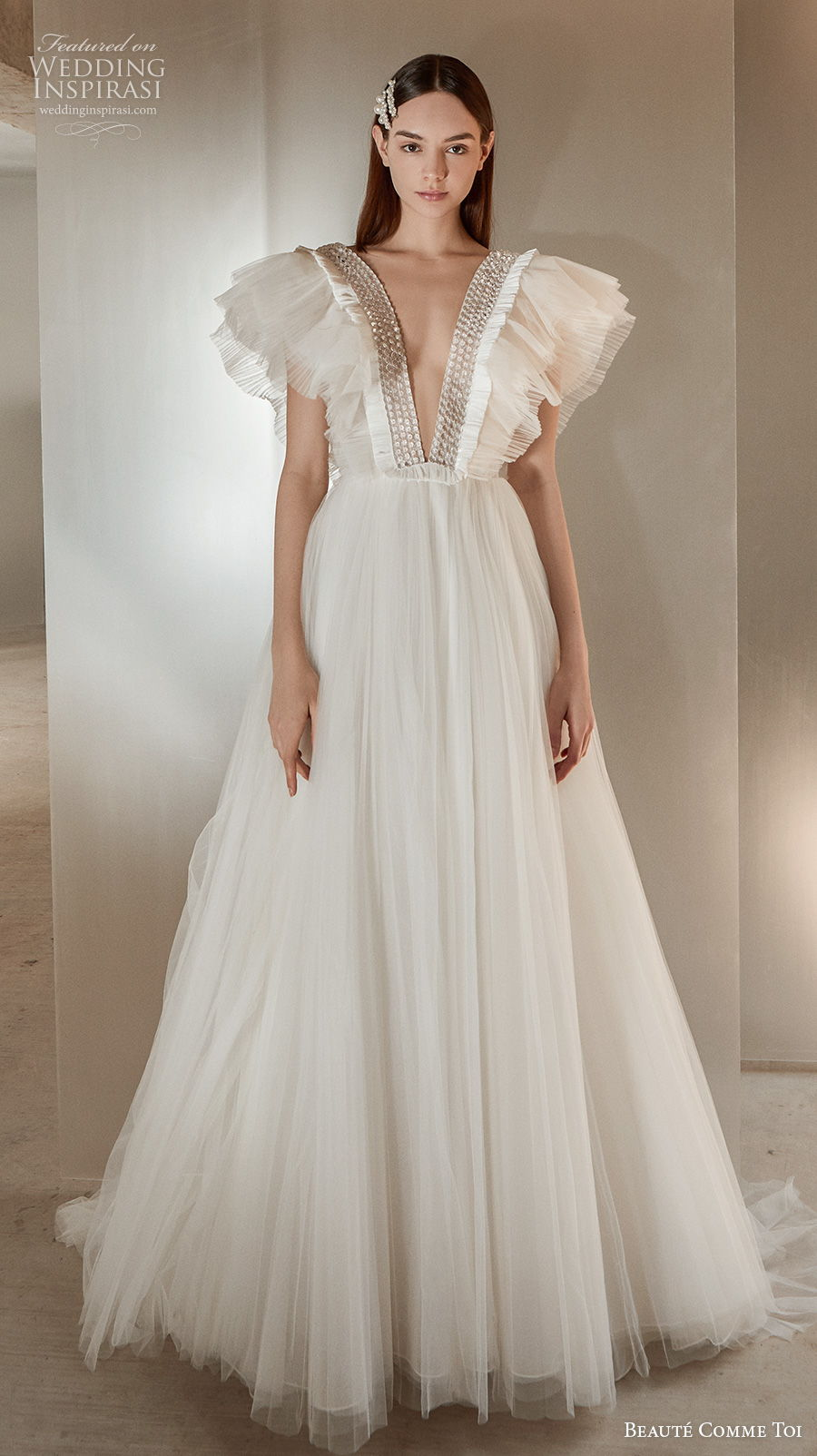 beaute comme toi 2021 bridal butterfly sleeves deep v neck heavily embellished bodice simple ruched bodice a  line wedding dress v back sweep train (talisha) mv