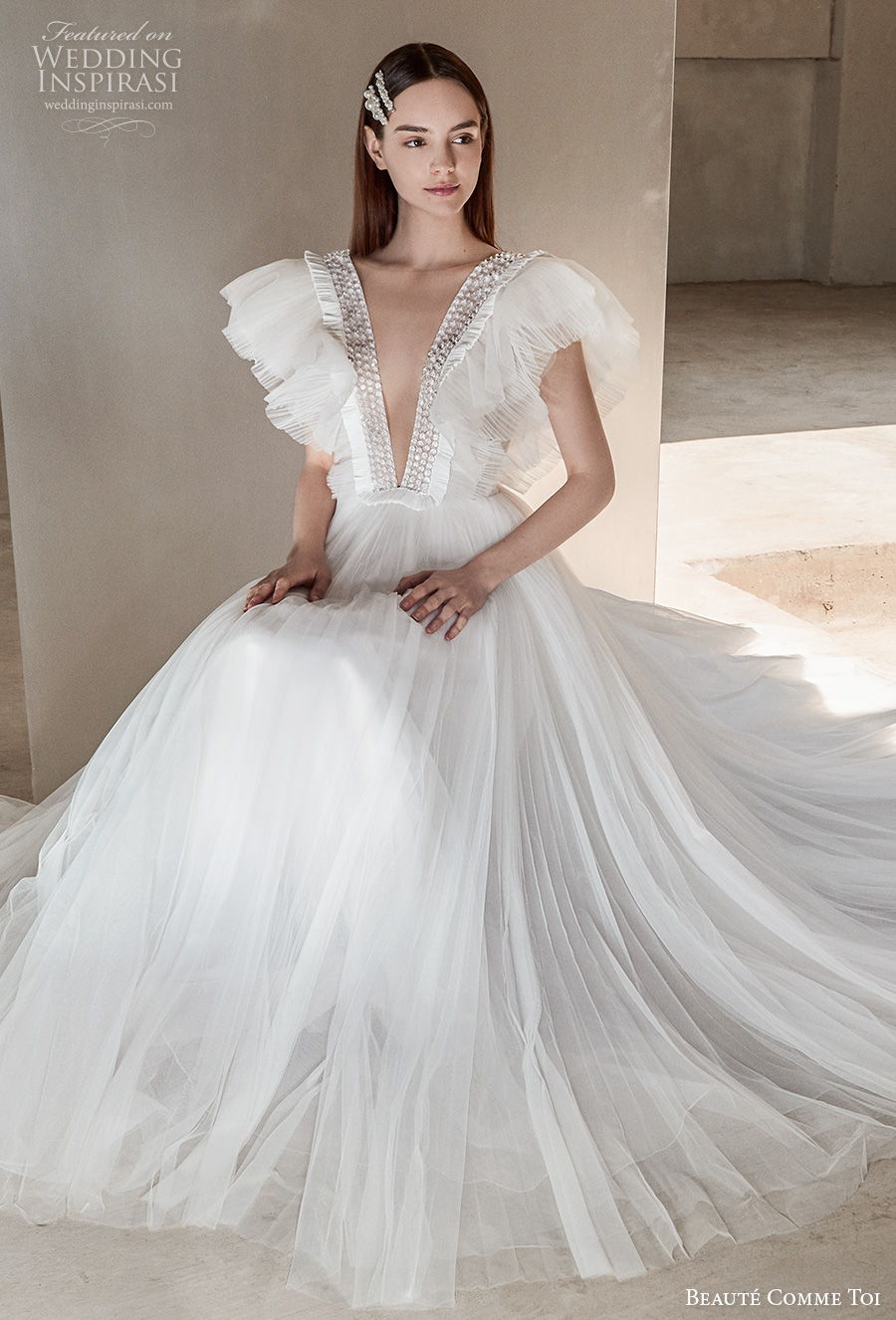 beaute comme toi 2021 bridal butterfly sleeves deep v neck heavily embellished bodice simple ruched bodice a  line wedding dress v back sweep train (talisha) zv mv