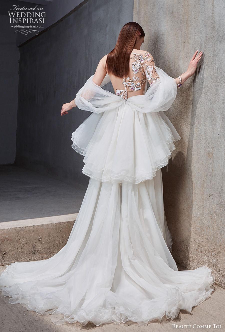 beaute comme toi 2021 bridal cold shoulder bateau neckline heavily embellished bodice slit skirt peplum grecian glamorous a  line wedding dress embellished back chapel train (josalyn) bv