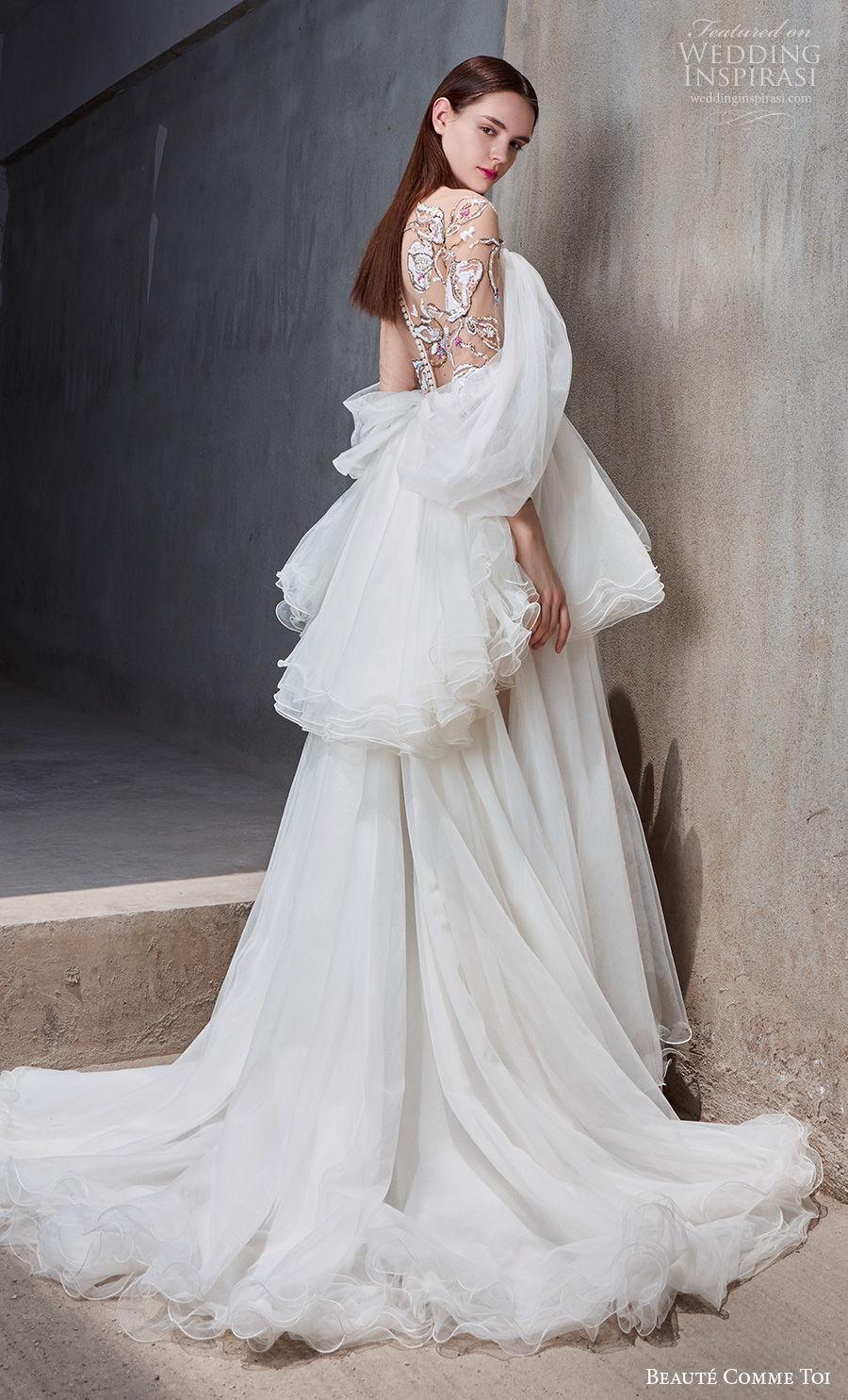 beaute comme toi 2021 bridal cold shoulder bateau neckline heavily embellished bodice slit skirt peplum grecian glamorous a  line wedding dress embellished back chapel train (josalyn) sdv