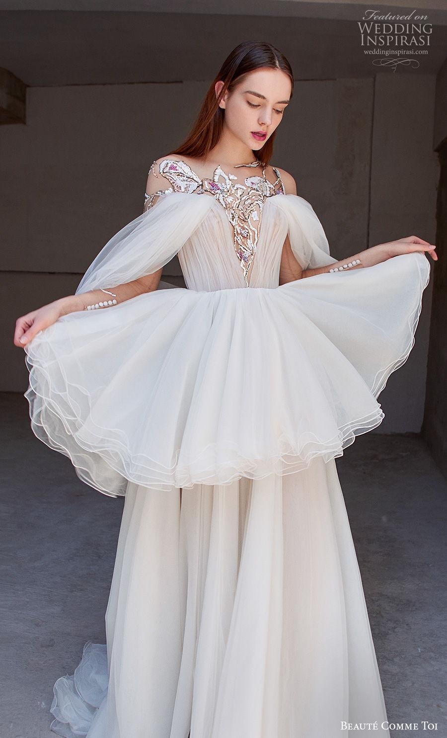 beaute comme toi 2021 bridal cold shoulder bateau neckline heavily embellished bodice slit skirt peplum grecian glamorous a  line wedding dress embellished back chapel train (josalyn) zv