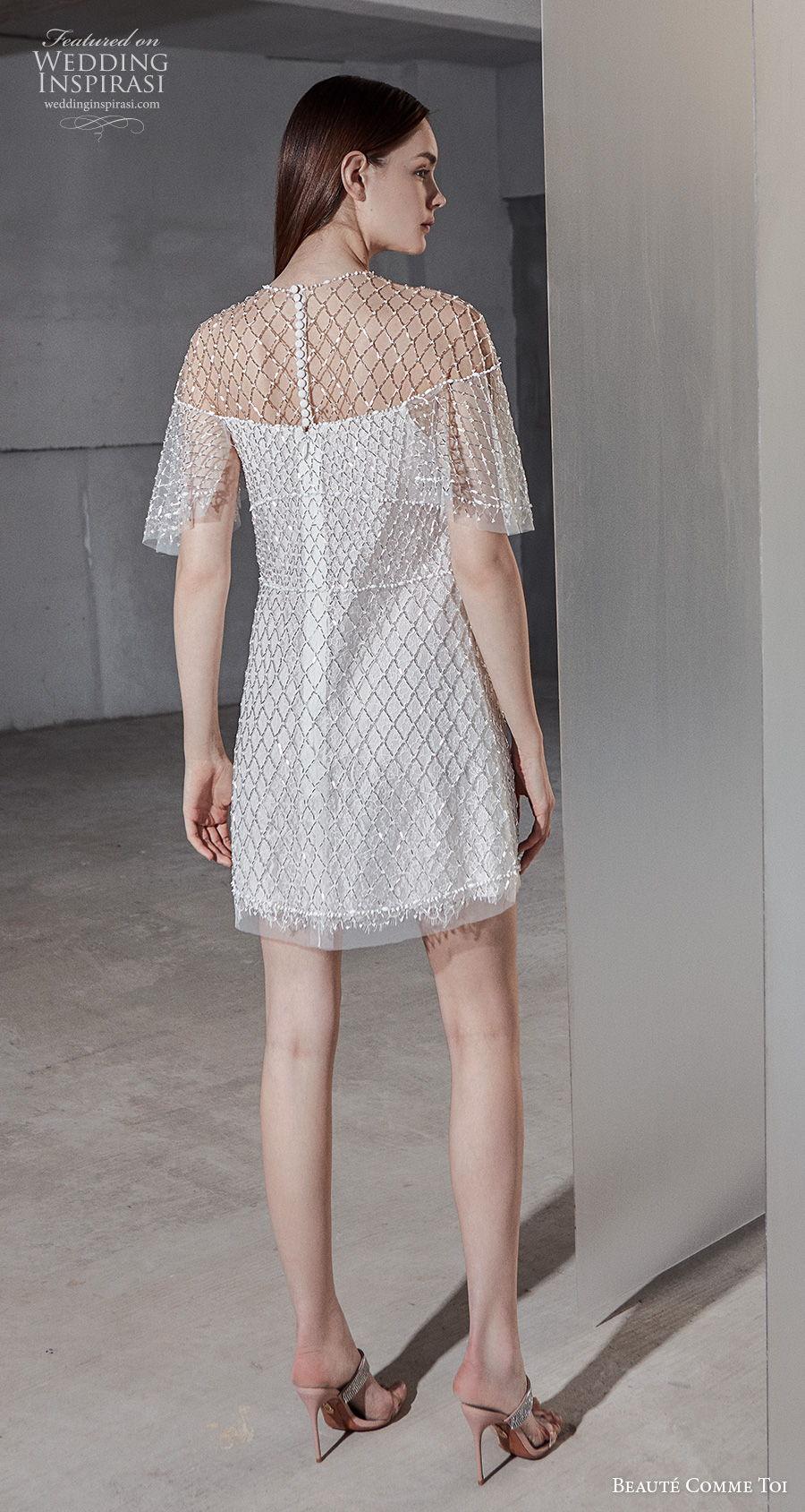 beaute comme toi 2021 bridal half handkerchief sleeves jewel neckline full embellishment glamorous miniskirt short wedding dress (kineta) bv