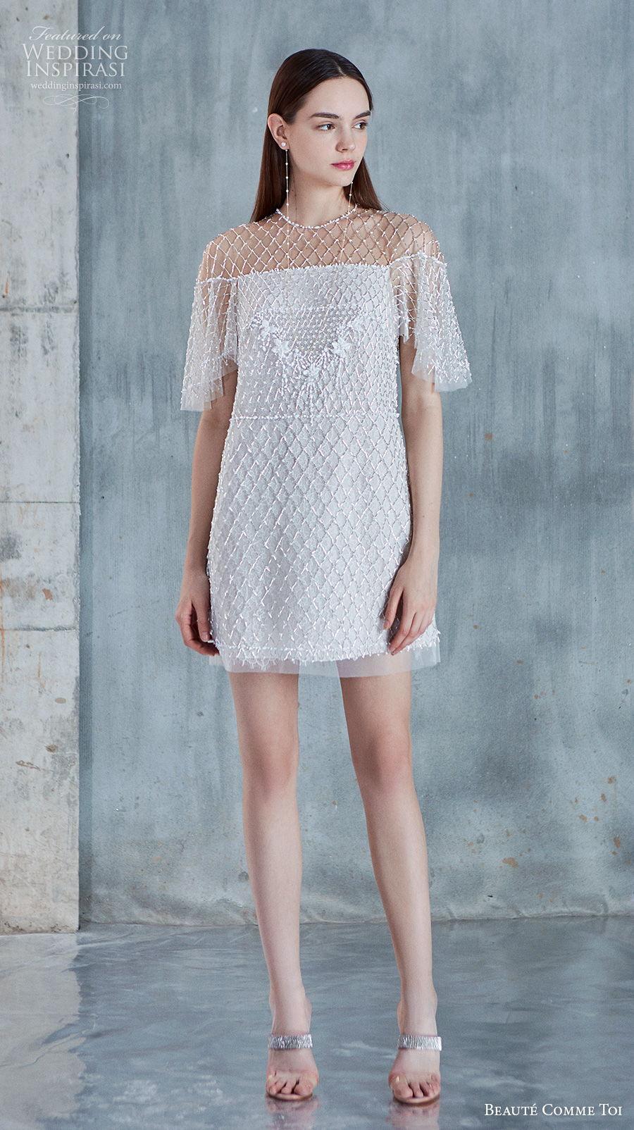 beaute comme toi 2021 bridal half handkerchief sleeves jewel neckline full embellishment glamorous miniskirt short wedding dress (kineta) mv