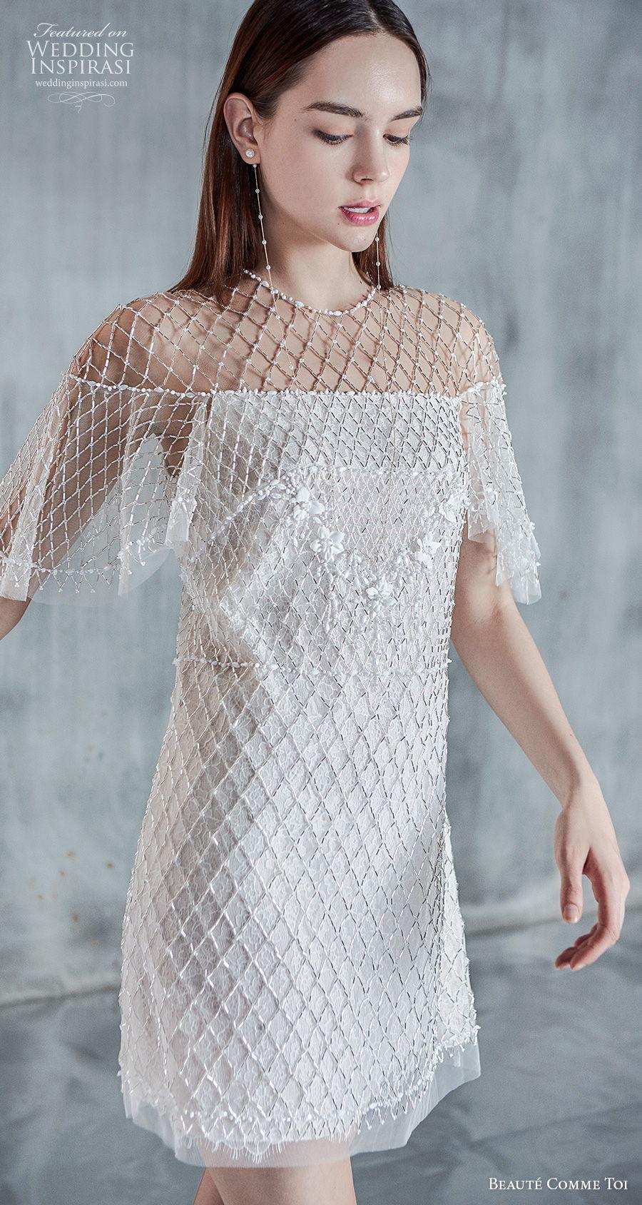 beaute comme toi 2021 bridal half handkerchief sleeves jewel neckline full embellishment glamorous miniskirt short wedding dress (kineta) zv