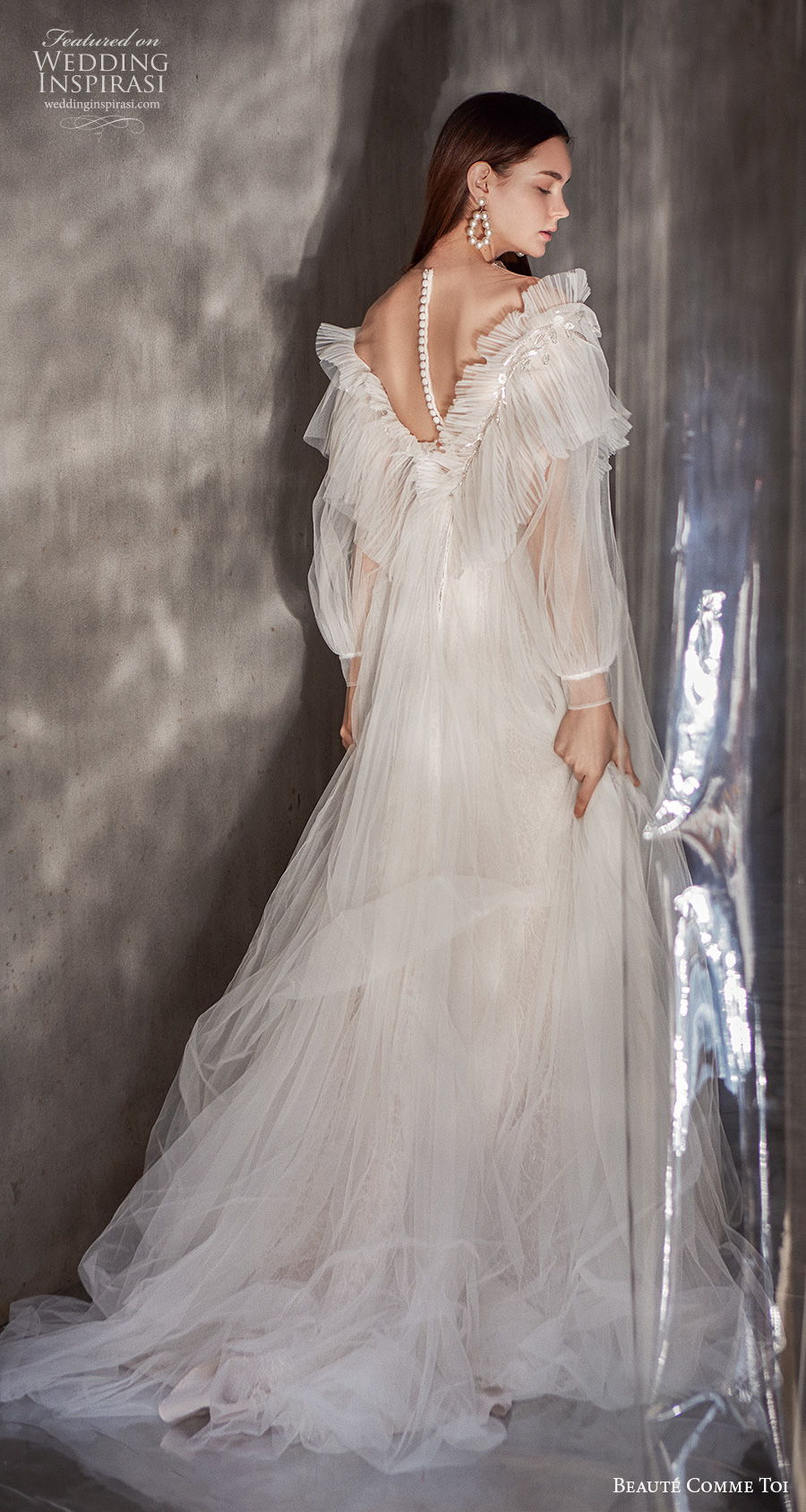 beaute comme toi 2021 bridal long bishop sleeves bateau neckline ruched bodice bohemian a  line wedding dress sheer button v back medium train (kathryn) bv