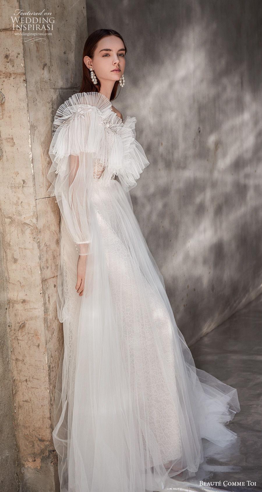beaute comme toi 2021 bridal long bishop sleeves bateau neckline ruched bodice bohemian a  line wedding dress sheer button v back medium train (kathryn) sdv mv