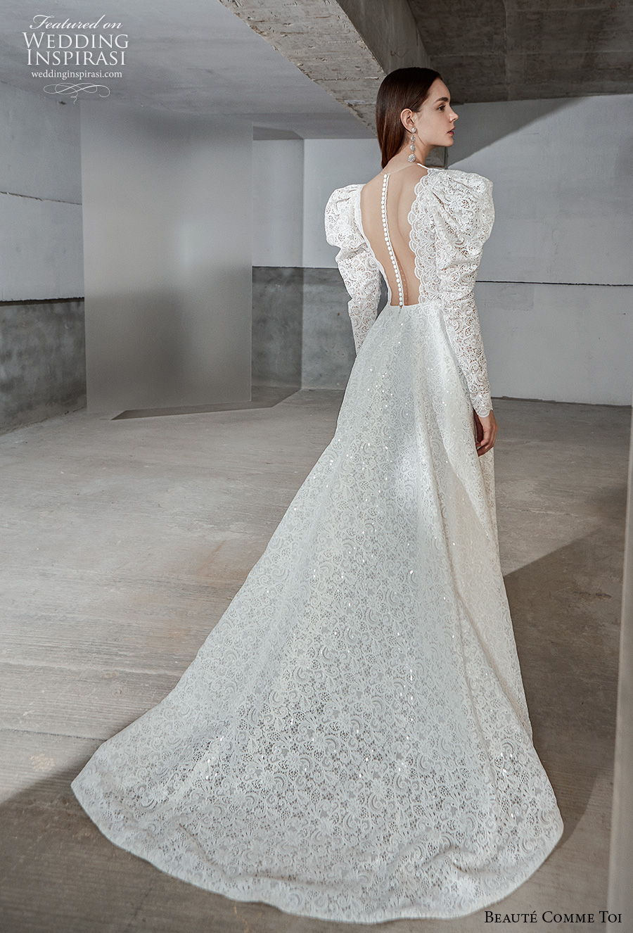 beaute comme toi 2021 bridal long gigot sleeves jewel neck full embellishment vintage a  line wedding dress sheer button back chapel train (natasha) bv