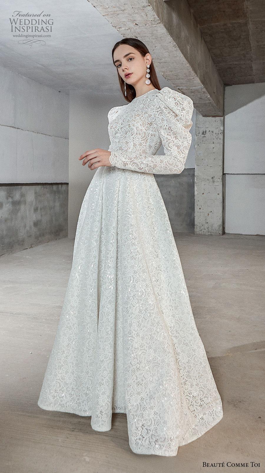 beaute comme toi 2021 bridal long gigot sleeves jewel neck full embellishment vintage a  line wedding dress sheer button back chapel train (natasha) mv