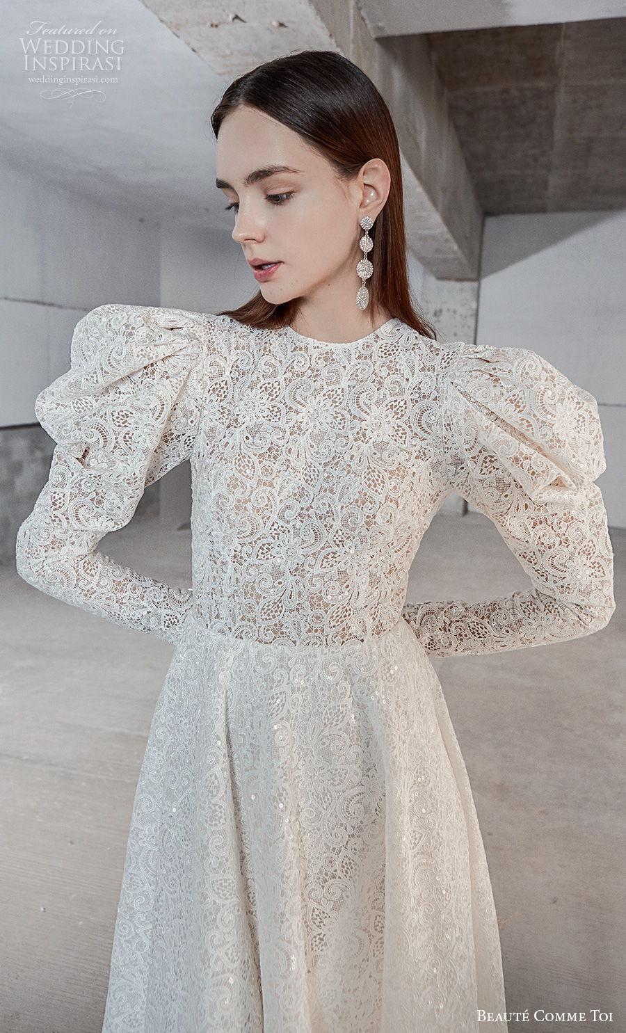 beaute comme toi 2021 bridal long gigot sleeves jewel neck full embellishment vintage a  line wedding dress sheer button back chapel train (natasha) zv