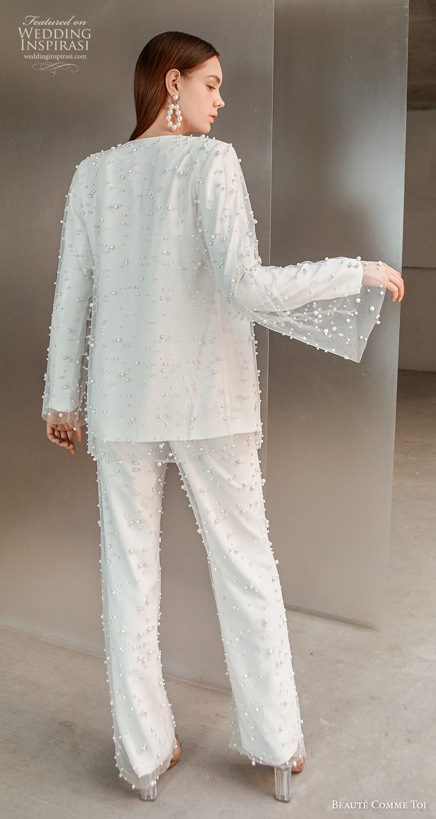 beaute comme toi 2021 bridal long sleeves 3 piece suit full embellishment modern sexy beaded jacket pants wedding dress (tricia) bv