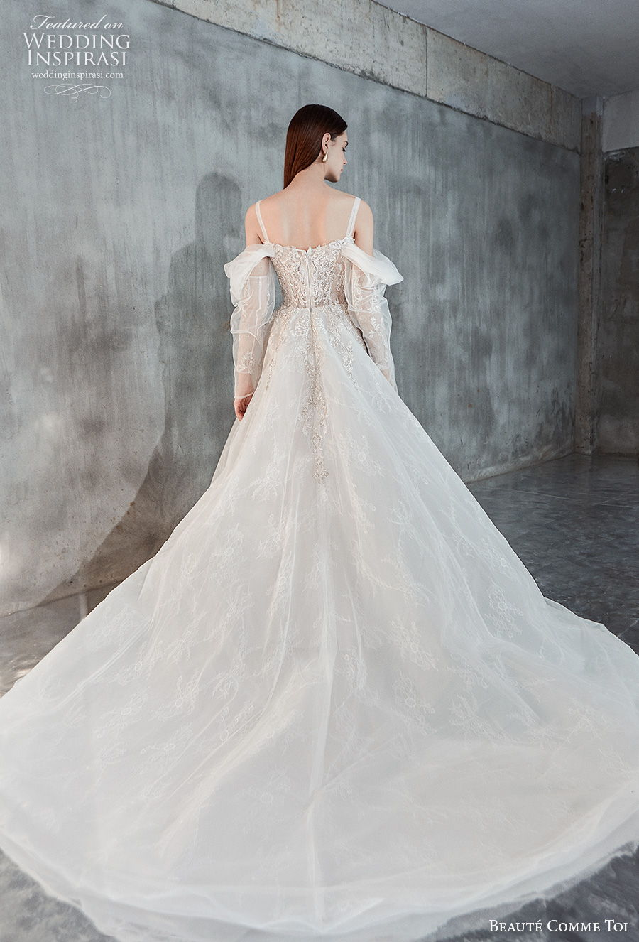 beaute comme toi 2021 bridal long sleeves cold shoulder with strap straight across neckline heavily embellished bodice princess a  line wedding dress mid back chapel train (eloise) bv