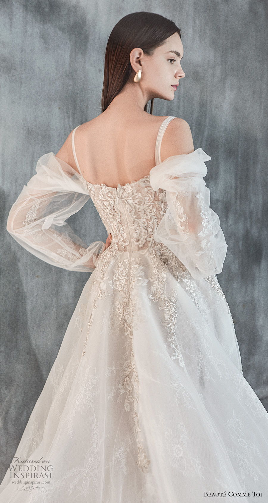 beaute comme toi 2021 bridal long sleeves cold shoulder with strap straight across neckline heavily embellished bodice princess a  line wedding dress mid back chapel train (eloise) zbv