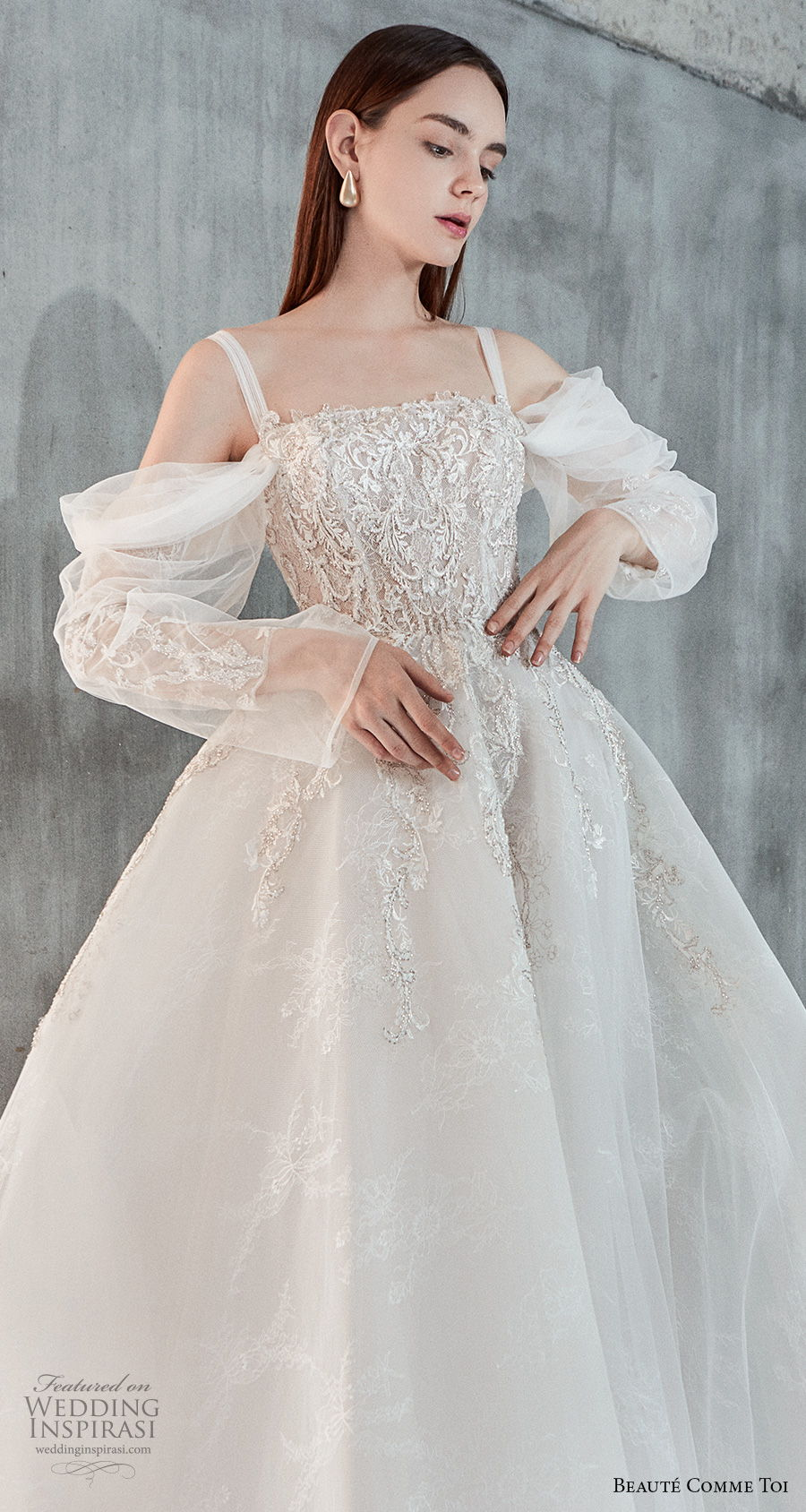 beaute comme toi 2021 bridal long sleeves cold shoulder with strap straight across neckline heavily embellished bodice princess a  line wedding dress mid back chapel train (eloise) zv