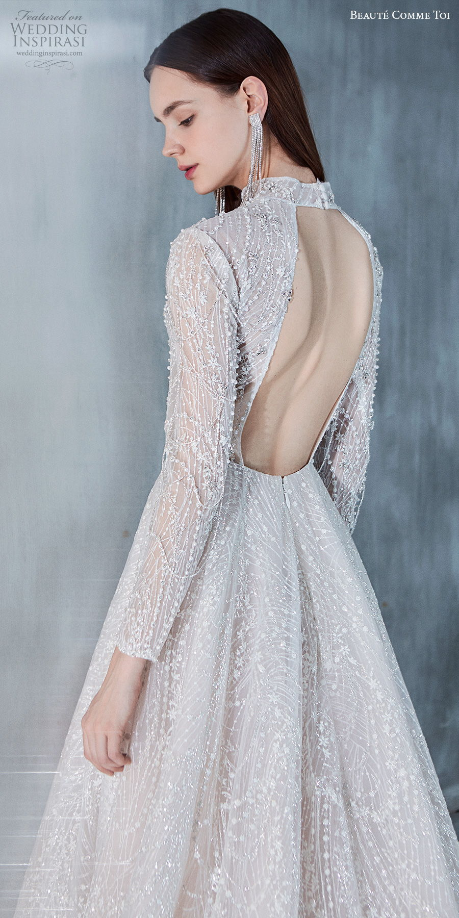 beaute comme toi 2021 bridal long sleeves high neck full embellishment glamorous princess a  line wedding dress keyhole back chapel train (liana) bv