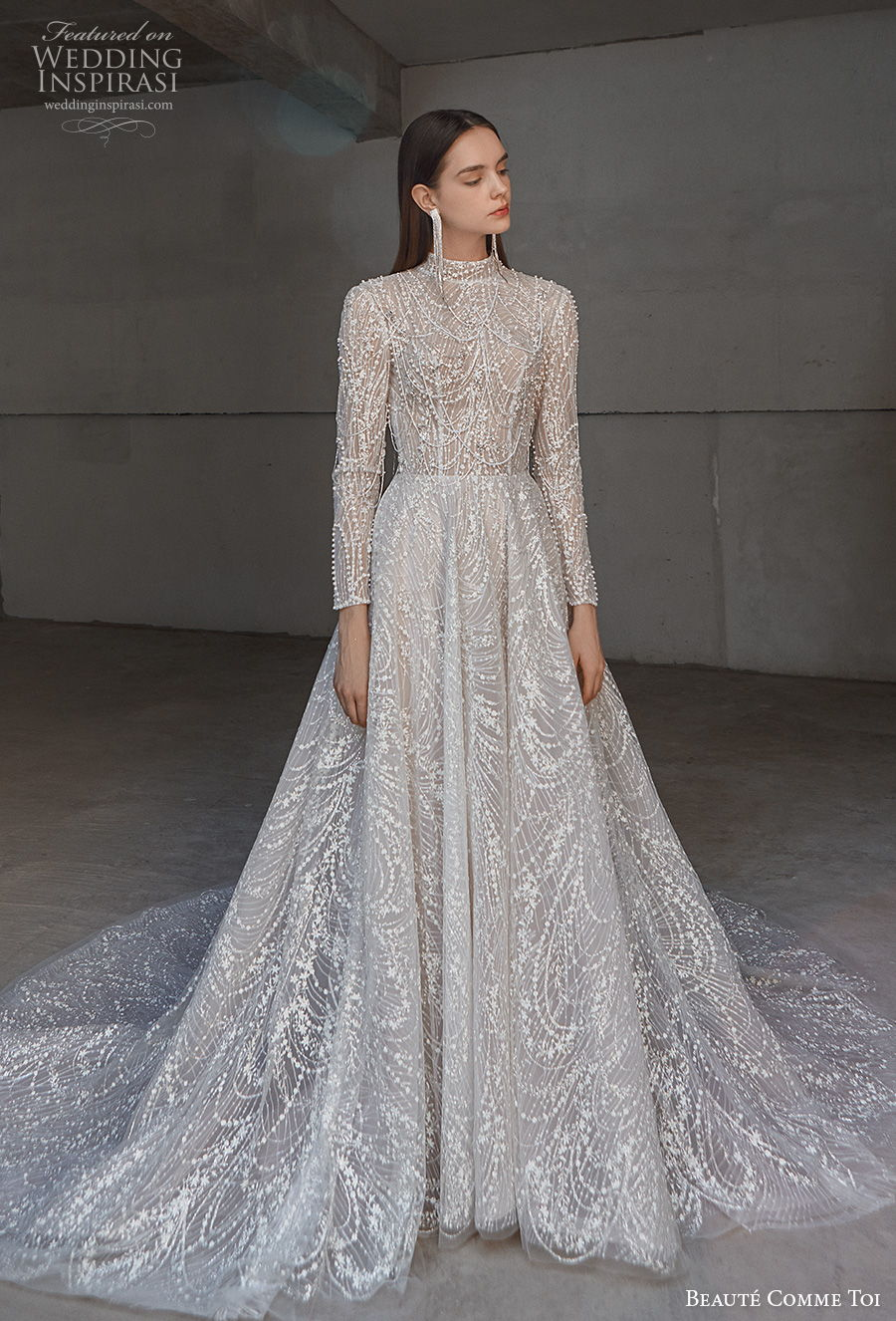 beaute comme toi 2021 bridal long sleeves high neck full embellishment glamorous princess a line wedding dress keyhole back chapel train (liana) mv
