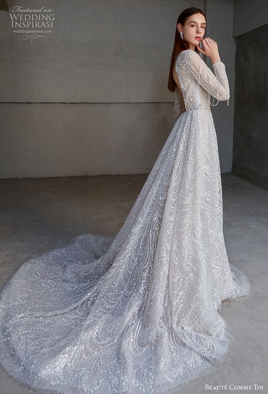 beaute comme toi 2021 bridal long sleeves high neck full embellishment glamorous princess a  line wedding dress keyhole back chapel train (liana) sdv