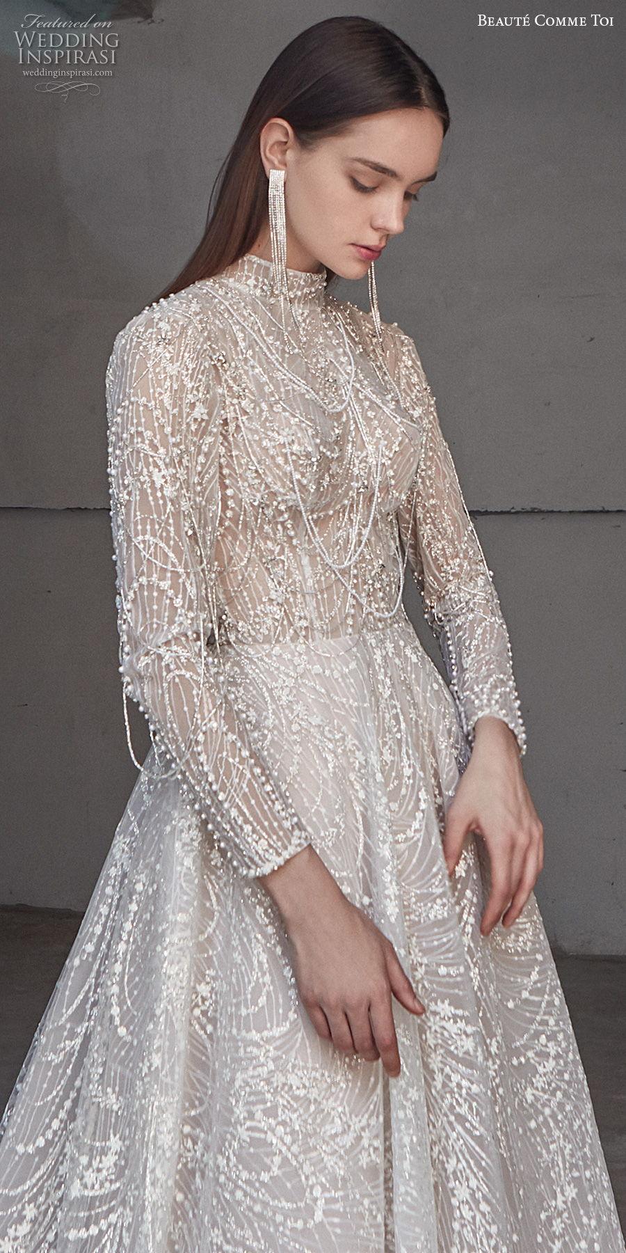 beaute comme toi 2021 bridal long sleeves high neck full embellishment glamorous princess a  line wedding dress keyhole back chapel train (liana) zv