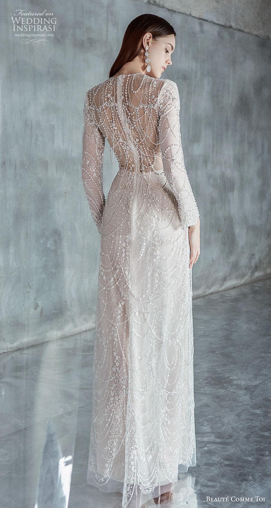 beaute comme toi 2021 bridal long sleeves jewel neckline full embellishment glamorous elegant sheath wedding dress embellished back sweep train (clarice) bv