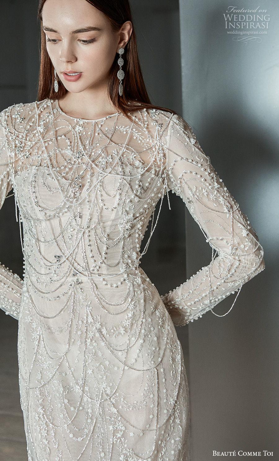 beaute comme toi 2021 bridal long sleeves jewel neckline full embellishment glamorous elegant sheath wedding dress embellished back sweep train (clarice) zv mv