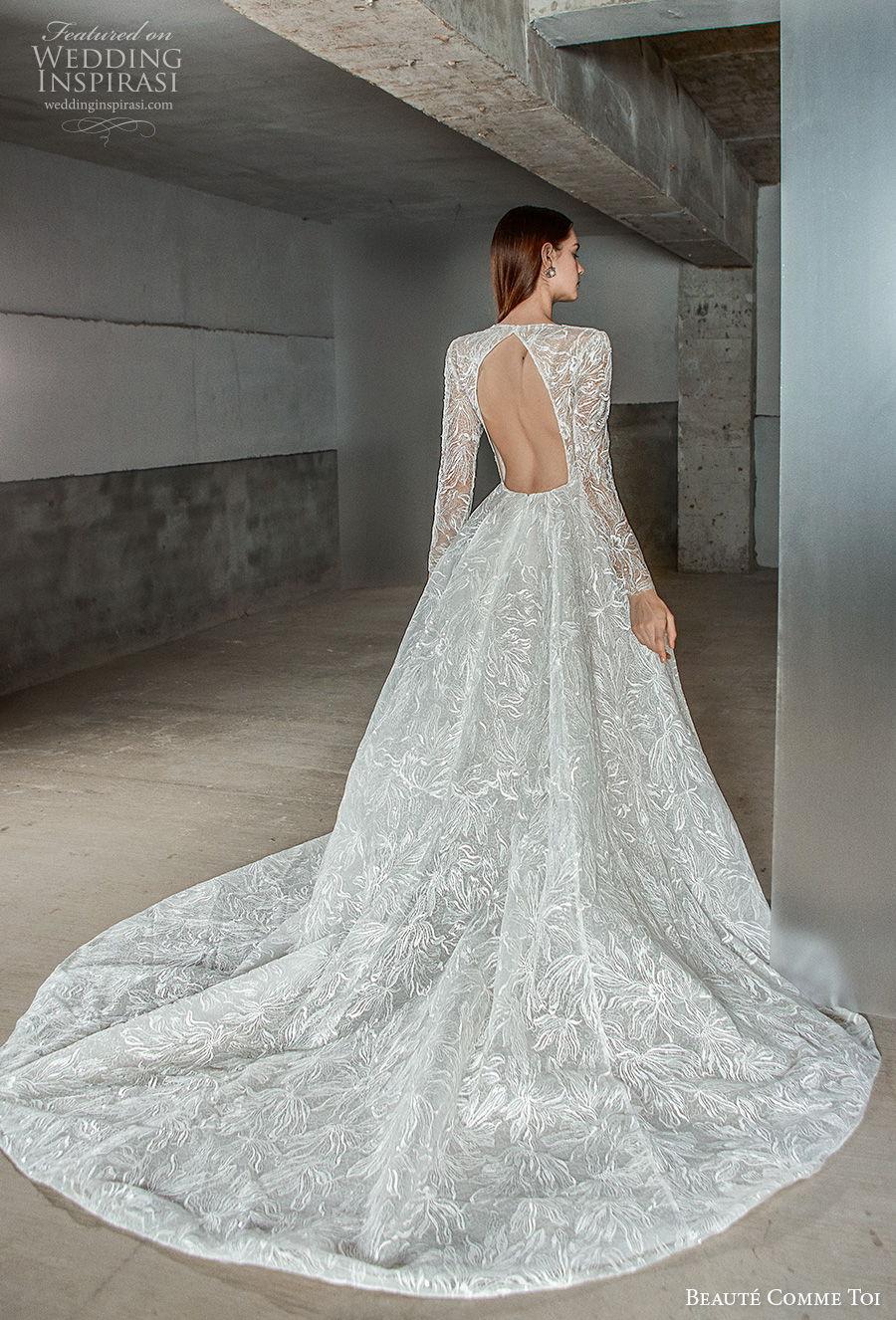 beaute comme toi 2021 bridal long sleeves square sweetheart neckline full embellishment princess elegant a  line wedding dress keyhole back chapel train (erika) bv