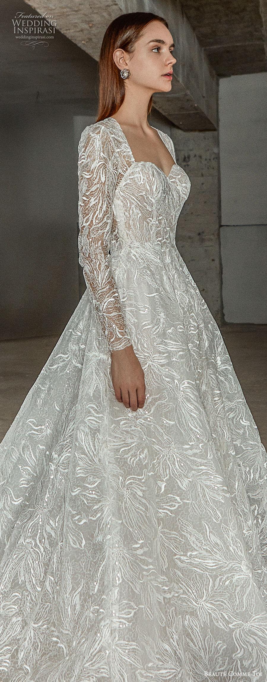 beaute comme toi 2021 bridal long sleeves square sweetheart neckline full embellishment princess elegant a  line wedding dress keyhole back chapel train (erika) lv